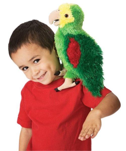 FOLKMANIS PUPPETS Amazonský papoušek 28 cm (pohyblivý plyšák na ruku)
