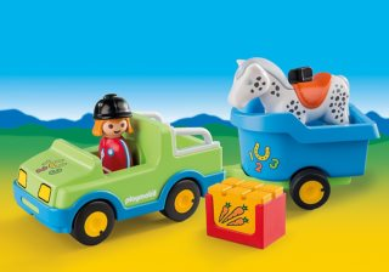 Playmobil 6958 Auto s koňským přívěsem (1.2.3)