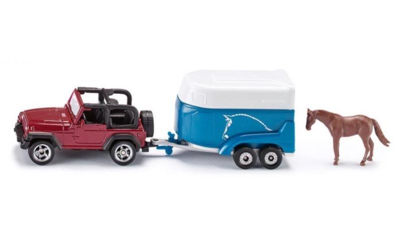 SIKU 1651 Auto s přívěsem a koněm