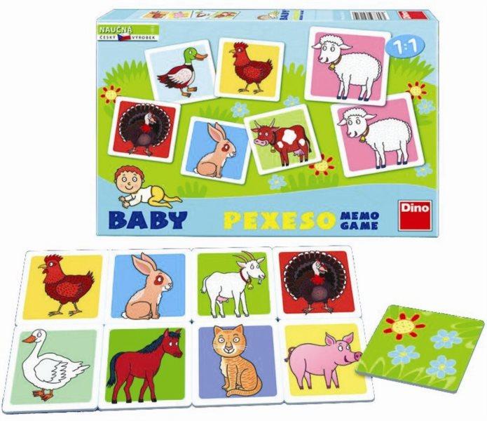 Dětská hra Domácí zvířátka - Baby pexeso pro nejmenší, DINO