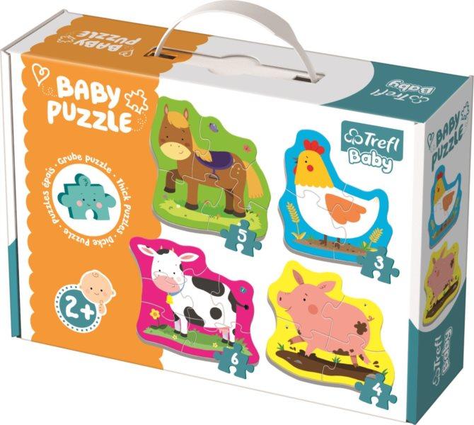 TREFL Baby puzzle Zvířata na farmě 4v1 (3,4,5,6 dílků)