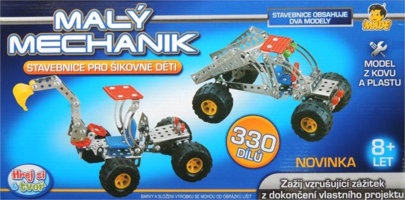 Stavebnice MALÝ MECHANIK: Bagr a traktor 330 dílků