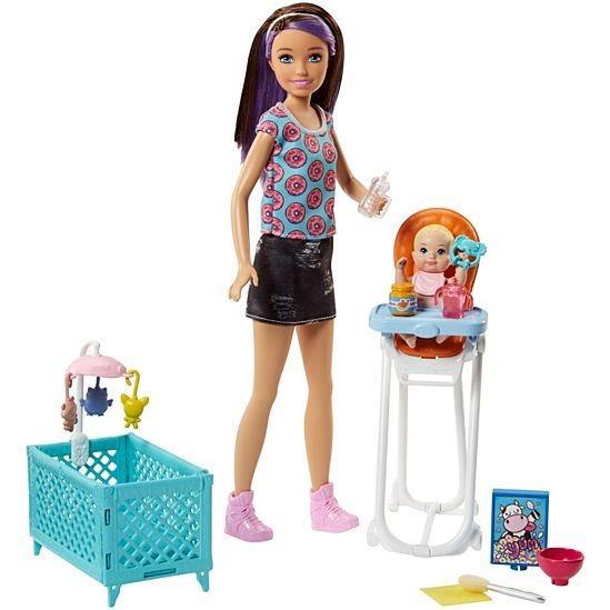 MATTEL Barbie brunetka chůva s miminkem a doplňky