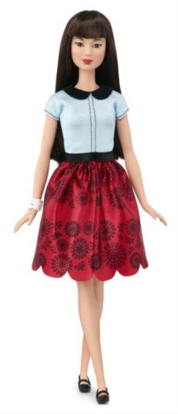 MATTEL Barbie modelka - Asiatka v červené sukni