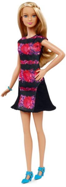 MATTEL Barbie modelka - Blondýnka v v černorůžových šatech