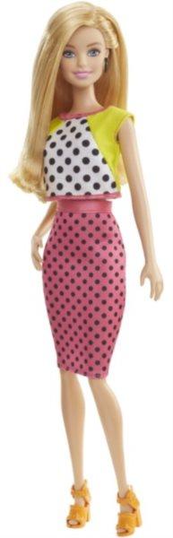 MATTEL Barbie modelka - Blondýnka v puntíkatých šatech