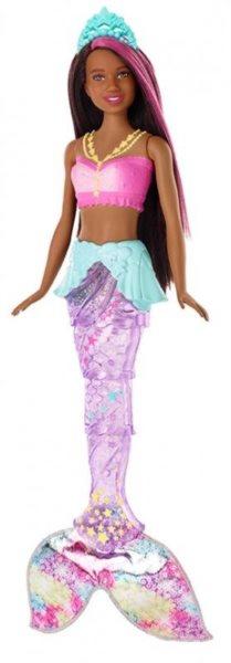 MATTEL Barbie Svítící mořská panna s pohyblivou ploutví Černoška