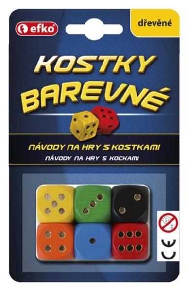 Hrací kostky barevné (6ks)