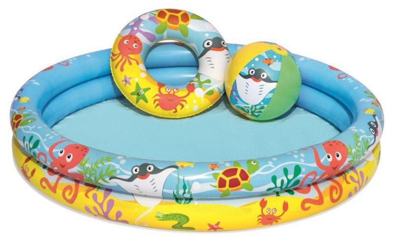 BESTWAY Dětský bazén 122cm s nafukovacím kruhem a míčem