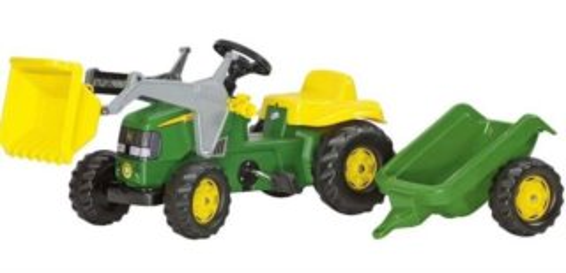 ROLLY TOYS Šlapací traktor John Deere s předním nakladačem a přívěsem
