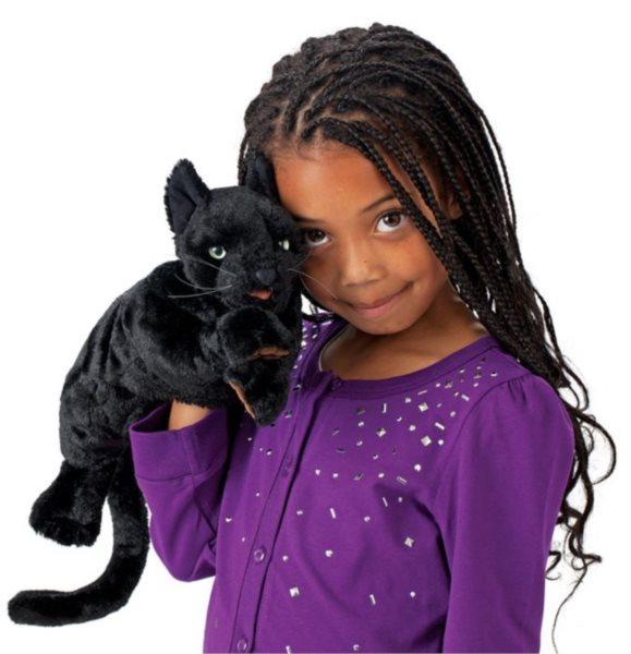 Černá kočka (pohyblivý plyšák na ruku), FOLKMANIS PUPPETS