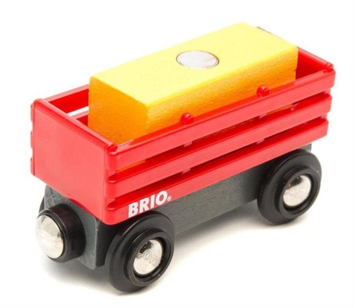 BRIO 33565 Červený vagón se žlutým nákladem
