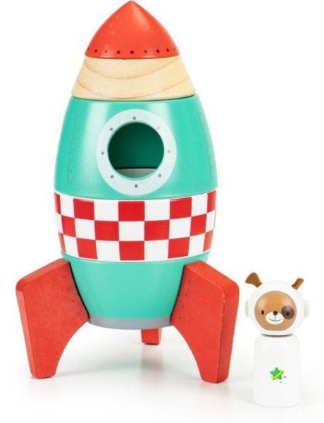 ECOTOYS Dětská dřevěná raketa