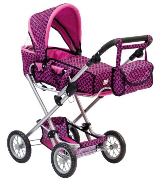 BINO 82916 Dětský kočárek růžovočerný s taškou