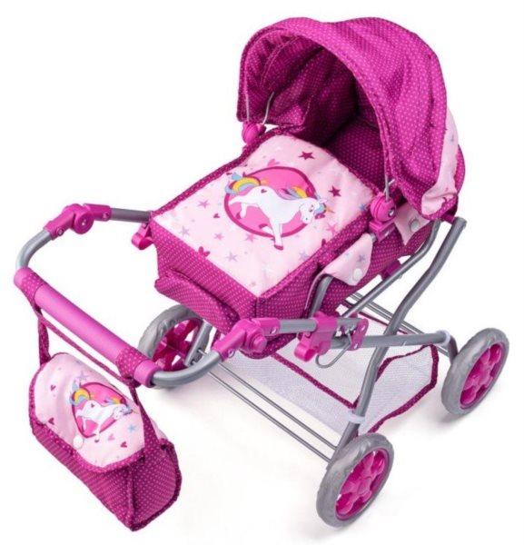 WOODY Dětský kočárek s taškou - Jednorožec (malý)