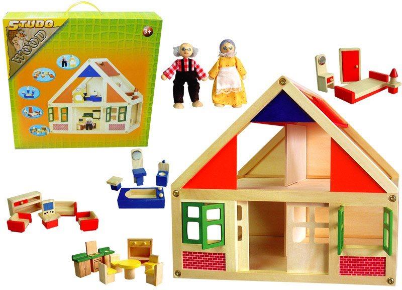 STUDO WOOD Domeček na hraní s nábytkem