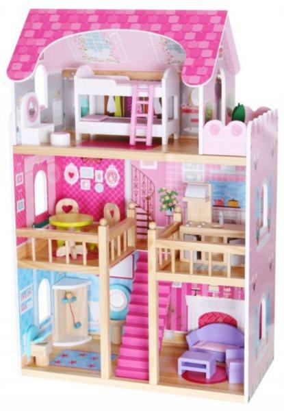 ECOTOYS Domeček pro panenky Malinový s vybavením