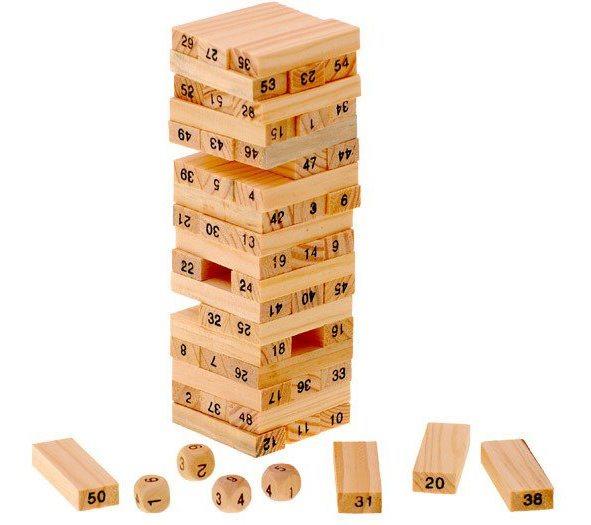 Dřevěná mini věž s čísly