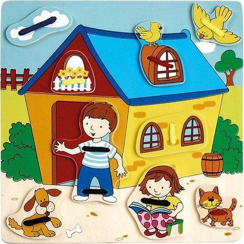 Dětská dřevěná provlékačka U domečku - PLAYME - BRIMAREX 7956