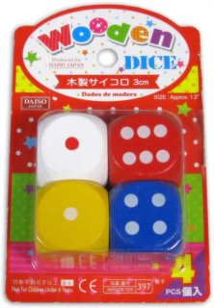 Dřevěné hrací kostky 4ks