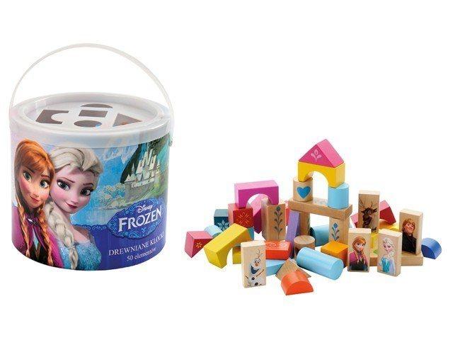 PLAYME , TOP BRIGHT Dřevěné kostky v kyblíku s prostrkávacím víkem Ledové království, 50ks