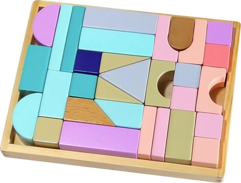 ECOTOYS Dřevěné kostky v pastelových barvách 31 dílků