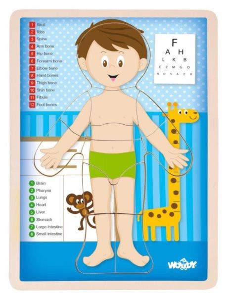 WOODY Oboustranné puzzle Lidské tělo - Chlapec (anglicky)