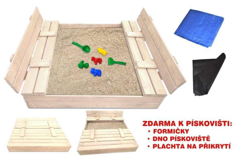 PIXINO Dřevěné pískoviště s lavičkami 120x120cm (světlé)
