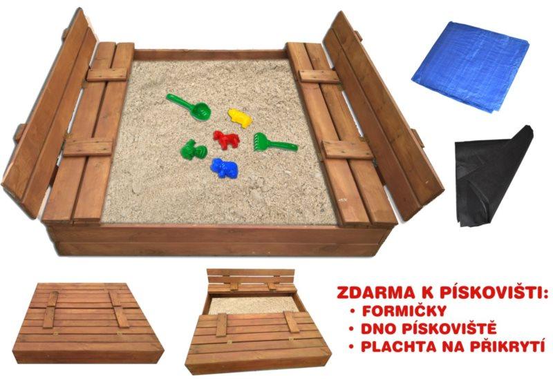 PIXINO Dřevěné pískoviště s lavičkami 120x120cm (tmavé)