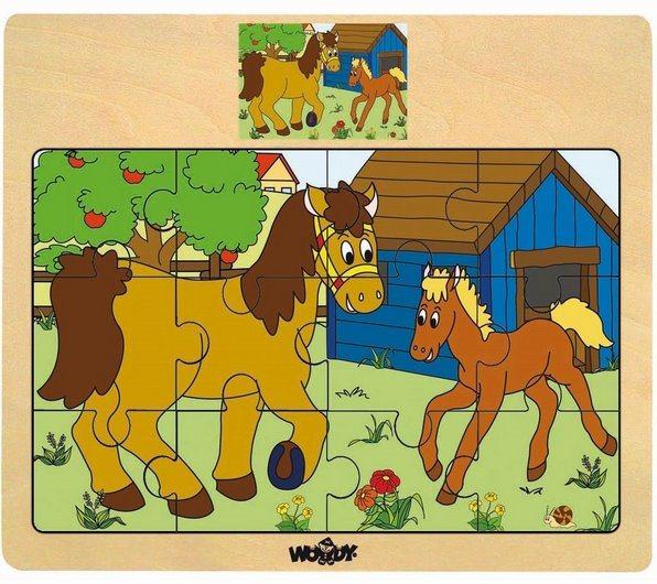 WOODY Dřevěné puzzle Kůň se hříbátkem 12 dílků