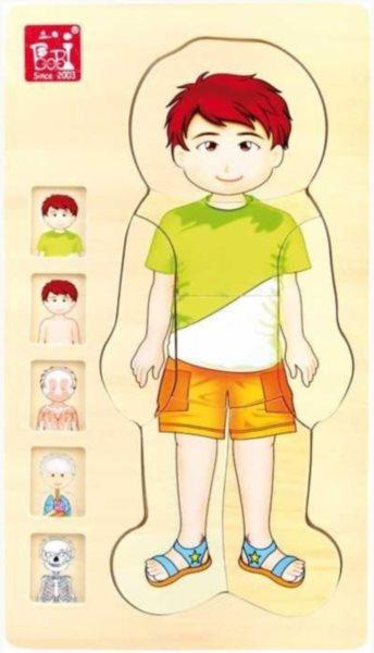 SMALL FOOT Vícevrstvé puzzle Lidské tělo Chlapec