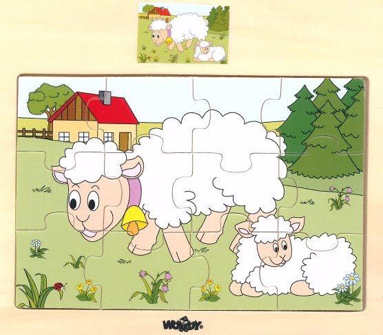 WOODY Dřevěné puzzle Ovečka s jehnětem 12 dílků