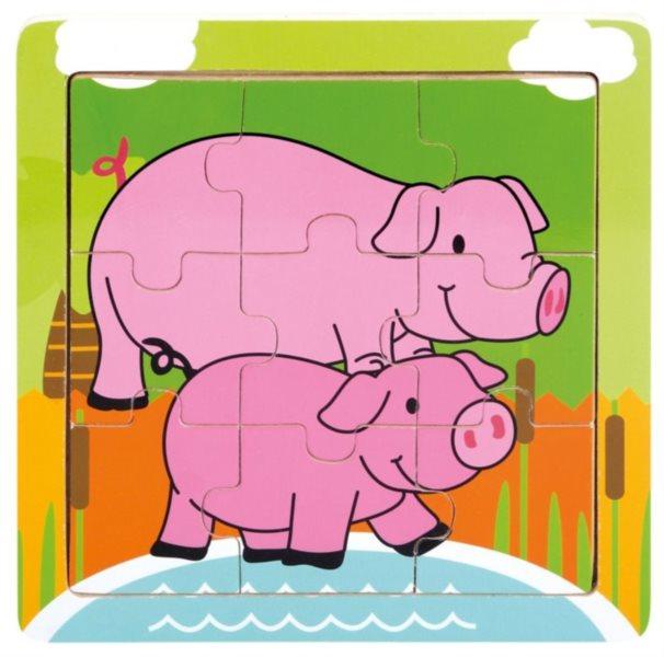BINO Dřevěné puzzle Prasátko se selátkem, 9 dílků