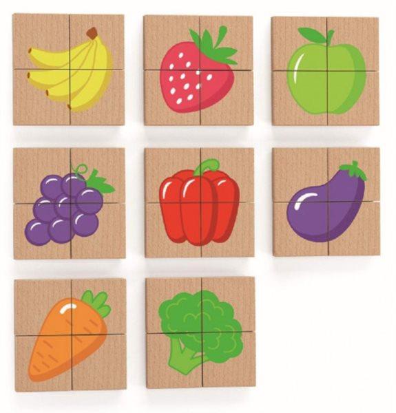 VIGA Dřevěné magnetické puzzle Ovoce a zelenina 32 dílků
