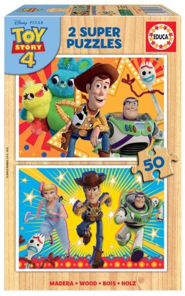 EDUCA Dřevěné puzzle Toy Story 4: Příběh hraček 2x50 dílků