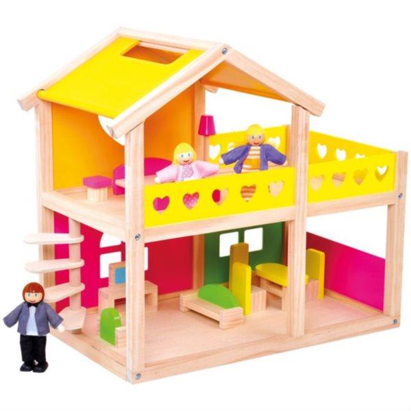 poškozený obal: Dřevěný domeček pro panenky