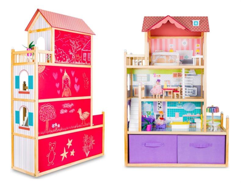 Dřevěný domeček pro panenky Villa Duo s tabulí