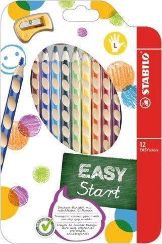 STABILO EASYstart sada 12 pastelek pro leváky s ořezávátkem