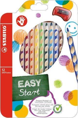 STABILO EASYstart sada 12 pastelek pro praváky s ořezávátkem