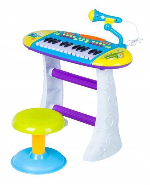 Elektronické klávesy s mikrofonem a stoličkou modré