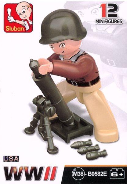 Stavebnice SLUBAN Figurka Americký voják s minometem