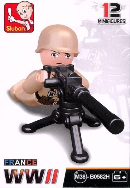 Stavebnice SLUBAN Figurka Francouzský voják s kulometem