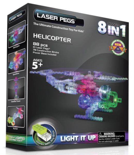 Svítící stavebnice LASER PEGS Helicopter 8v1