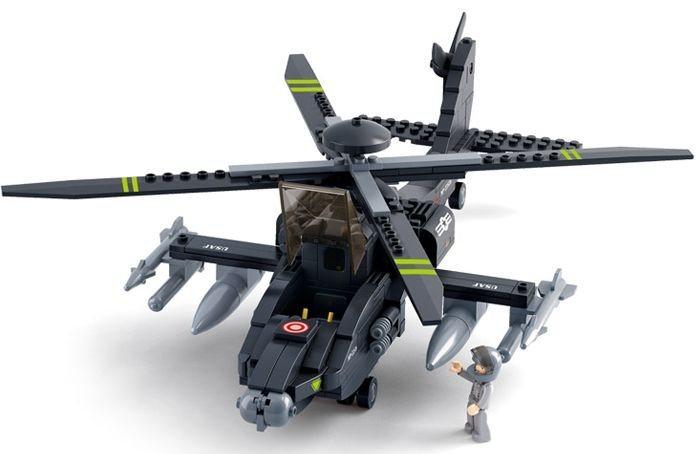 poškozený obal: Stavebnice SLUBAN Helikoptéra APACHE AH-64