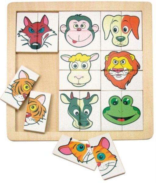 WOODY Dřevěné puzzle dvojice Zvířecí hlavičky