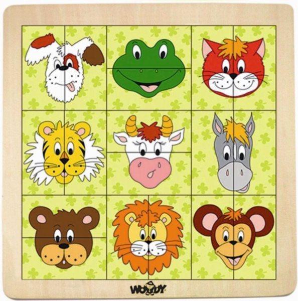 WOODY Dřevěné puzzle dvojice Hlavičky zvířátek
