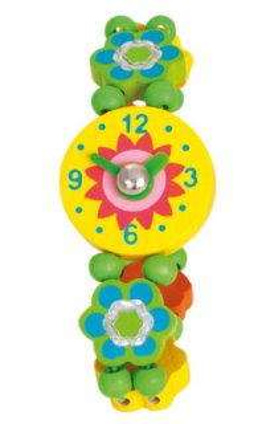 BINO Dřevěné hodinky: Kytičky