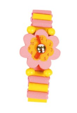 BINO Dřevěné hodinky: Růžová kytička