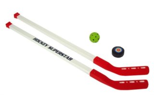 Hokejky s pukem a míčkem