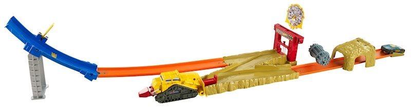 poškozený obal: MATTEL Hot Wheels Dráha pro kaskadérskou jízdu - Bulldozer blast